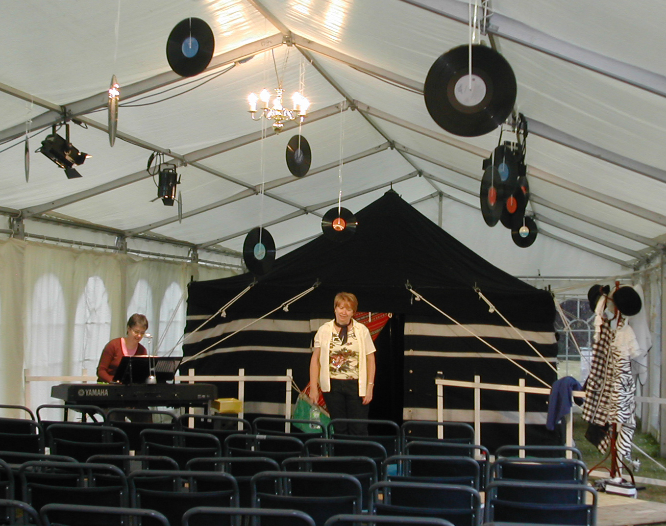 Rehearsing in a 'disco' marquee, with a 'chill-out' tent behind!