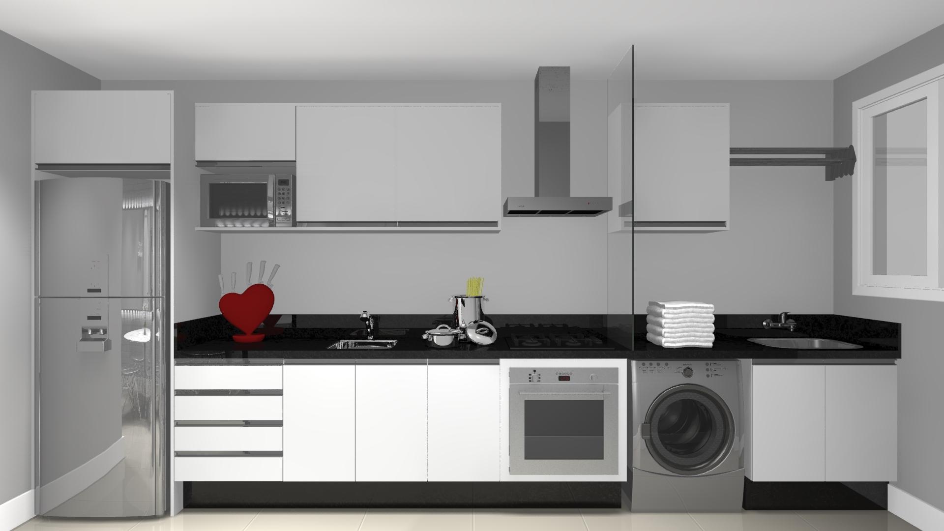 #66201E Cozinha branca e preta não tem como errar. Como a unica janela que  1920x1080 px Projeto Cozinha Branca_4110 Imagens