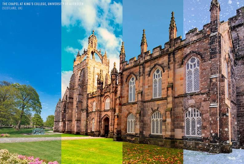 A Capela no King's College, Universidade de Aberdeen (Escócia, Reino Unido)