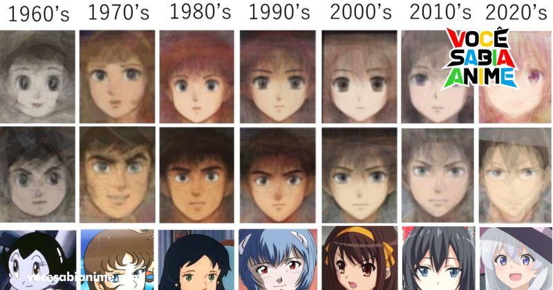 Como os rostos de anime mudaram ao longo dos anos