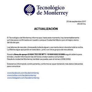 Tec de Monterrey. Informe de daños