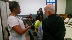 Presentation Of Plaque by Barbara Thornton Celebrating 40 Years Of Gracious Service