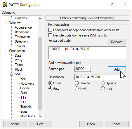 putty SSH Tunnel configuration for accessing the minikube dashboard