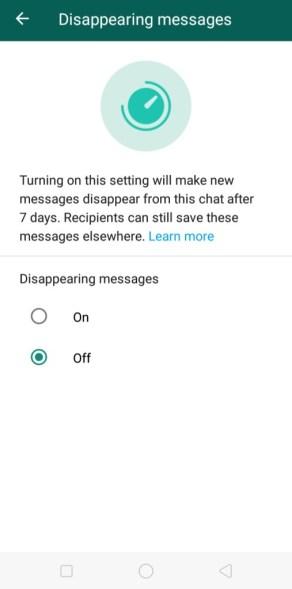 Whatsapp Disappearing