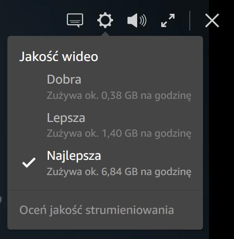 Zmiana jakości obrazu w serwisie Prime Video