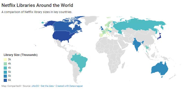 Liczba materiałów na platformie Netflix w 24 krajach