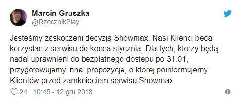 Rzecznik prasowy Play zaskoczony wyjściem platformy Showmax z Polski