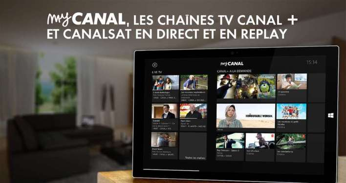 MyCanal oferuje dostęp do kanałów na zywo, wraz z usługą replay tv oraz z materiałami VOD