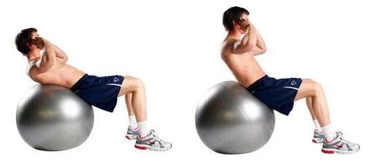 swiss ball crunch uitvoering