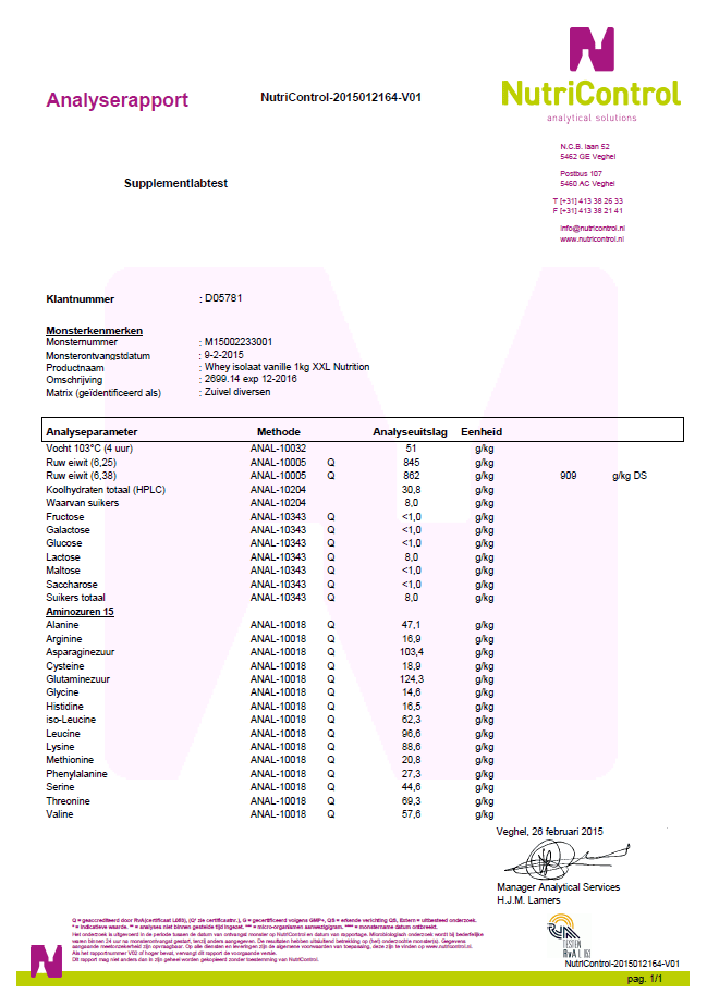 kwaliteit van whey isolaat - xxl nutrition