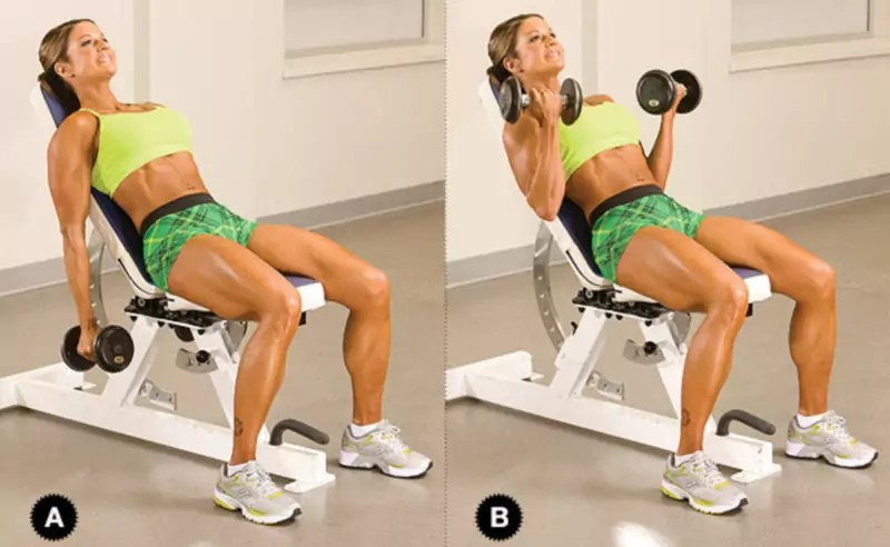 incline biceps curl uitvoering