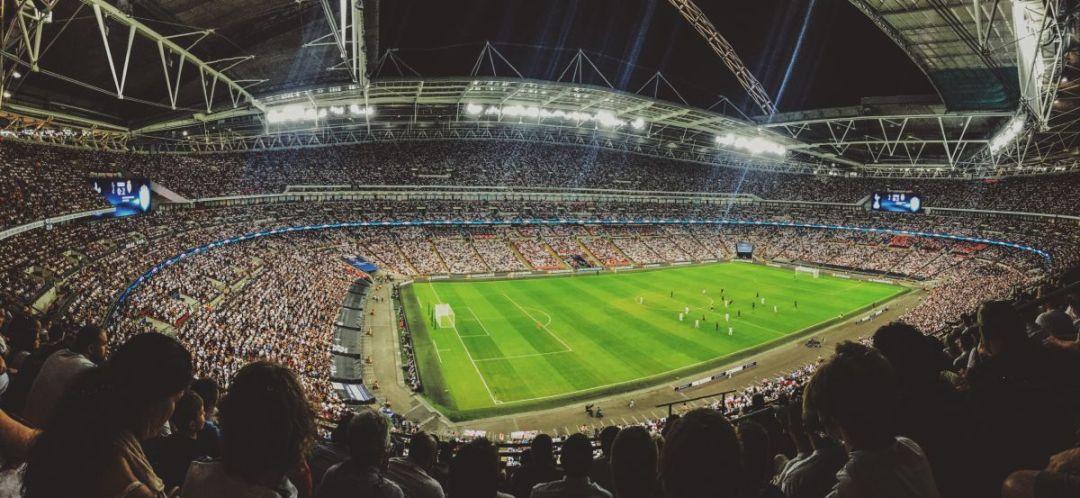 Foto van het Wembley stadion. Perfecte locatie voor je voetbalreis