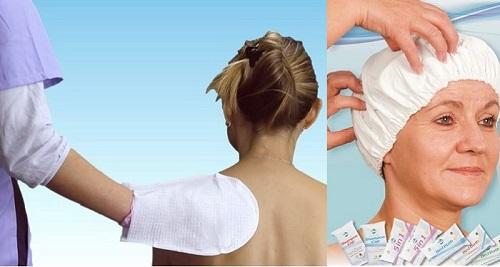 Шапка и ръкавица за безводно миене и къпане