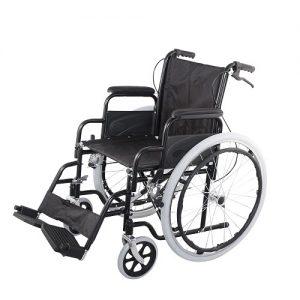 Инвалидна количка с чужда помощ, рингове и спирачки за придружаващият