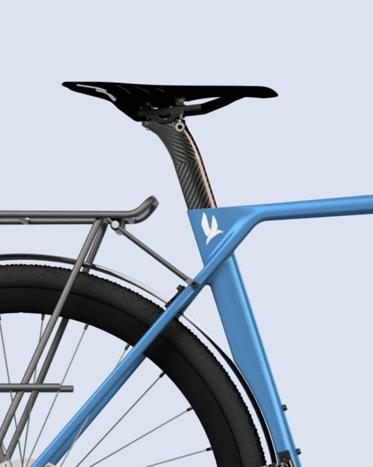 blue bike with Tubus rack