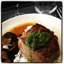 Steaks on a plane! Part of Neil Perry's delicious Qantas Business Class menu.