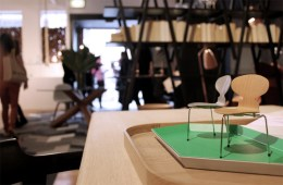 Miniature Fritz Hansen 'Ant' chairs sit on a 'Kaleido' tray by Clara Von Zweigbergk for Hay at Cult.
