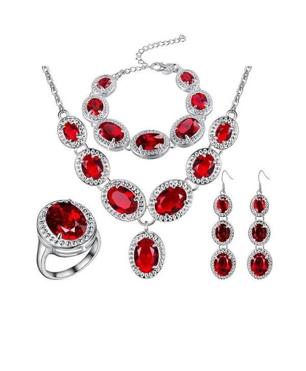 Red Jewelry Sets : jewelry, Sterling, Silver, Plated, Jewelry, Women, Girls, Swarovski, Elements, Crystal, Necklace, C812E5UZA33