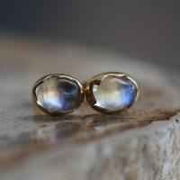 Annette Ferdinandsen | Rainbow Moonstone 18k Egg Post Stud ...