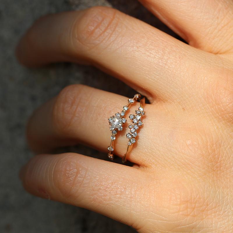 Kataoka  Thin Diamond Cluster 18k Rose Gold Ring At