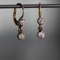 Vintage | Vintage Mine Cut Diamond Double Drop Earrings at ...