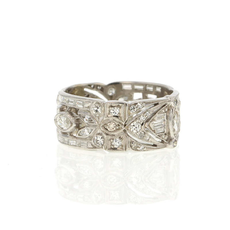 Vintage Unique Platinum Diamond Wide Band At Voiage Jewelry