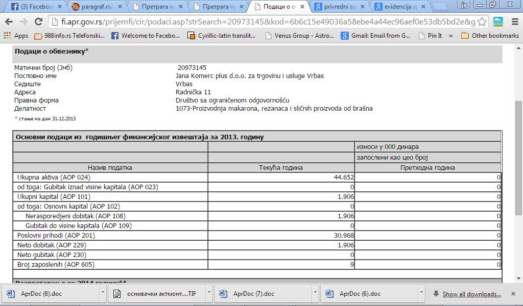 janakomerc plus fin izvestaj 2013