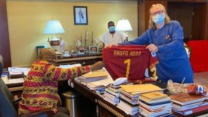 Italian Club As Roma Gifts President Akufo-Addo Special Customized Jersey