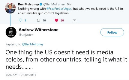 Tweek from Ben Mulroney suggests it's time for gun control in the US. Reply says Americans don't need Canadian TV celebrities telling them what to do.