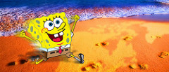 small spongebob running happily on a beach