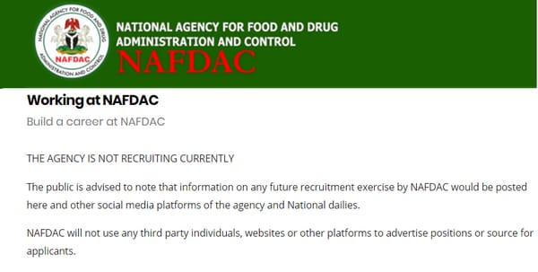 nafdac recruitment portal