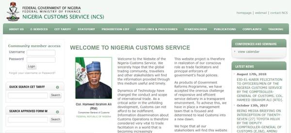 nigeria customs portal