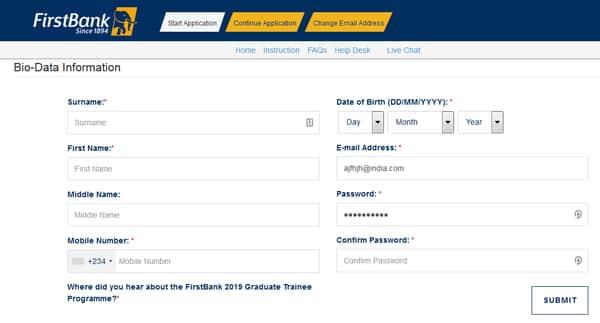 First Bank Recruitment Portal Registration