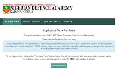 nigeria defence academy portal