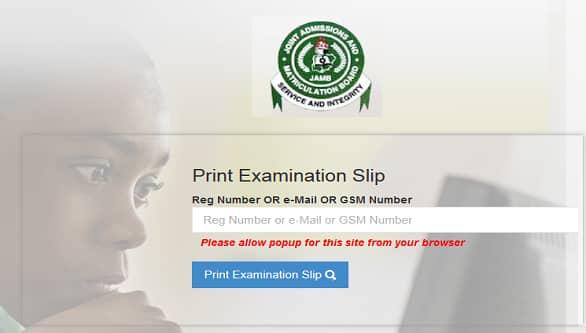 www.jamb.org.ng examination slip