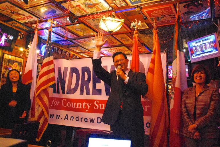 County supervisor candidate Andrew Do thanks supporters on election night, joined by state Sen. Janet Nguyen (left) and Do's wife, OC Superior Court Judge Cheri Pham.