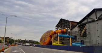 Construction of the indoor water park along Harbor Boulevard in Garden Grove.