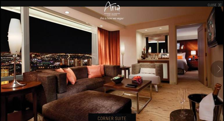 The Corner Suite at the Aria hotel in Las Vegas, where Solorio stayed. The $400-per-night bill was reimbursed by the district.