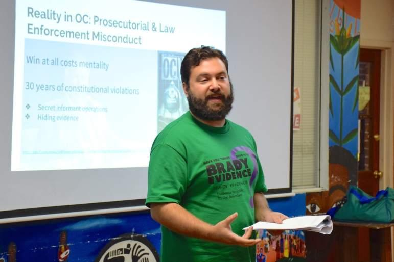 ACLU staff attorney Brendan Hamme addresses the OC Court Watch training session.
