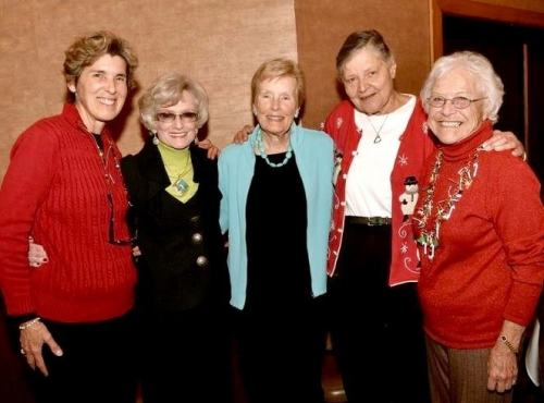 Bergeson with fellow activists (left to right) Nancy Skinner, Jean Watt and Evelyn Hart. Voice of OC Involvement Editor Theresa Sears is pictured to Bergeson's right.