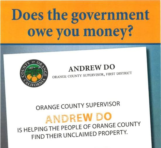 An example of one of the taxpayer-funded mailers sent out by the county. The mailer was an invite to an event about unclaimed property.