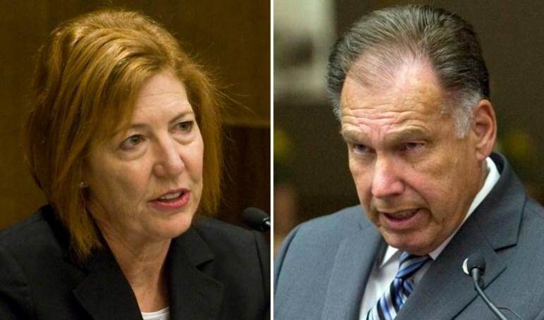 Orange County Sheriff Sandra Hutchens (left) and District Attorney Tony Rackauckas.