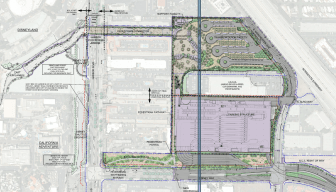Click to enlarge. The proposed parking and security complex would sit behind a row of businesses along Harbor Boulevard and feed into the entrance of the pedestrian bridge.
