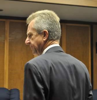 Former Garden Grove City Manager Matthew J. Fertal at his last city council meeting in December.