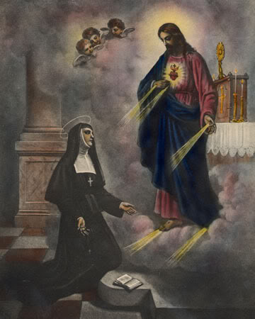 """""""St. Margaret Mary Alocoque received visions of the Lord exposing his heart and urging public devotion."""""""
