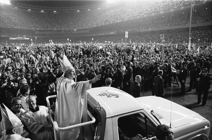Pope John Paul II at Yankee Stadium in 1979.