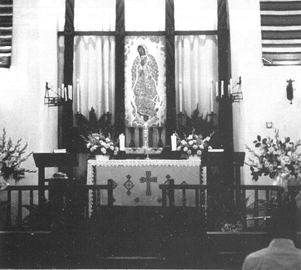 Restored altar of the old mission.