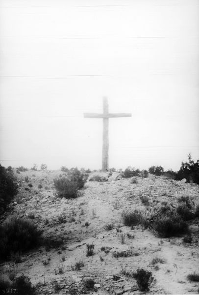 Photograph of a penitente's cross near San Mateo (San Rafael?), New Mexico, ca.1898. Via Wikimedia Commons.