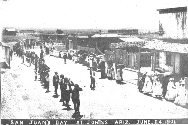 The San Juan fiestas have been held since the earliest days of the Parish of St. John the Baptist in various forms. This photo, taken in 1901, shows the Fiestas on June 24 of that year. The feast of St. John the Baptist is June 24 each year and the Fiestas are held on the weekend closest to that date.