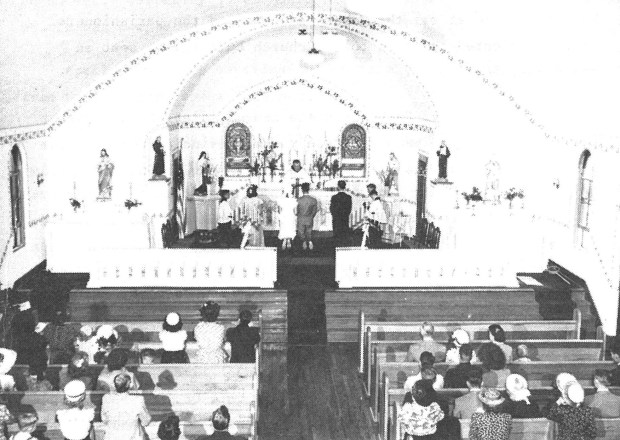 The wedding of Mary Lou Keenan to Fred Edwards, August 13, 1949. Celebrant was Father Theodosius Meyer. Servers were Bill Schnorr and Tim Foster. Seated in pew on left is Sister Margaret Mary.